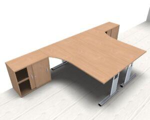 Doppelarbeitsplatz Gd25b 360x180 Cm Buche Schreibtisch