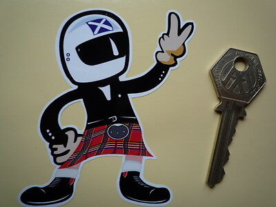 SCOTSMAN IN KILT old Helmeted Rider 2 finger salute m/'cycle STICKER SCOTLAND