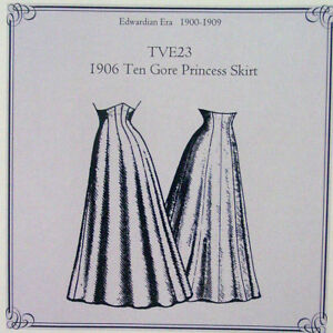 TVE23-Truly-Victorian-sewing-pattern-1906-Ten-Gore-Princess-Skirt-new-uncut-new