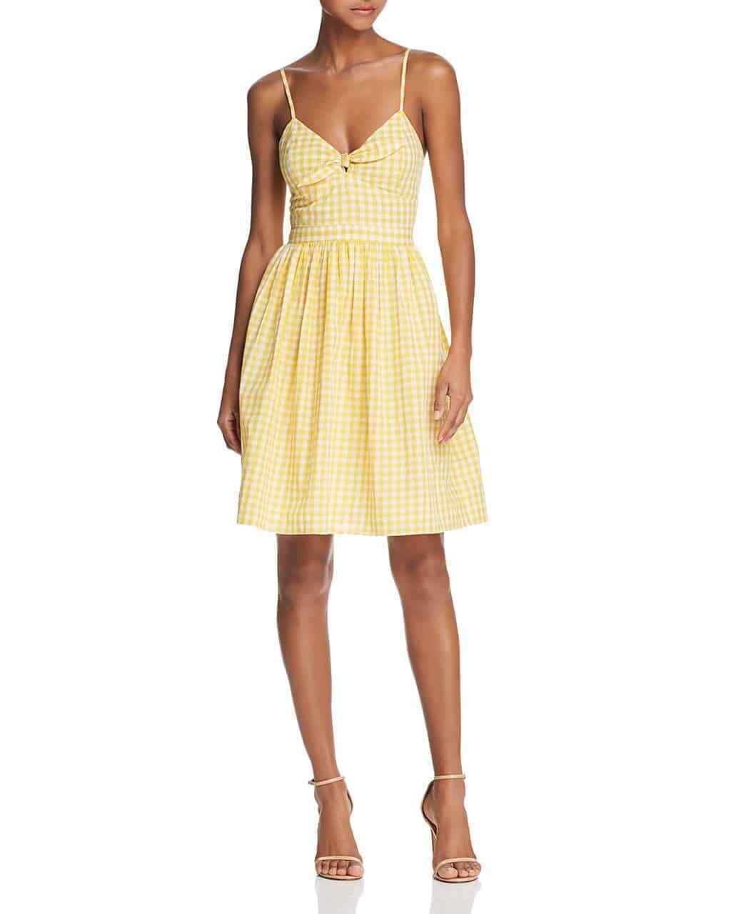 Endless Rosa Woherren Gingham Fit-and-Flare Dress, Gelb, Small