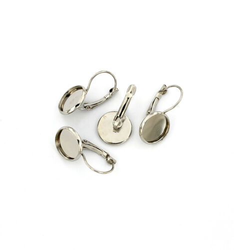 Lever Back 6 Pieces 3 Pairs Z879 12mm Tray Silver Tone Cabochon Earrings