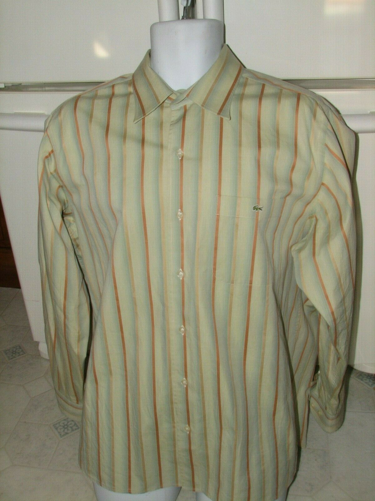 Lacoste Alligator casual dress shirt size 43 Men's XL   Perfect condition