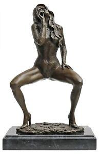 Bronzeskulptur-Erotik-erotische-Kunst-Frau-im-Antik-Stil-Bronze-Figur-30cm