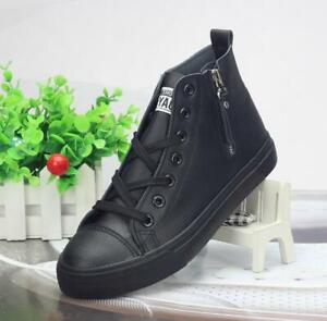 womens high top leather zip trainers boots shoes casual