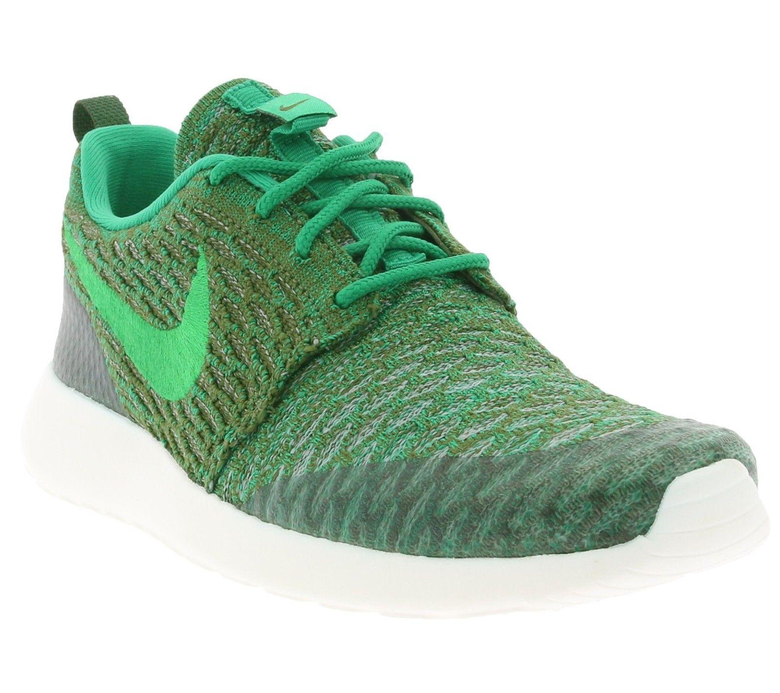 NEW WMNS NIKE Roshe One Flyknit 704927-303 Green Sneaker Running Shoe Sz 7.5 8.5