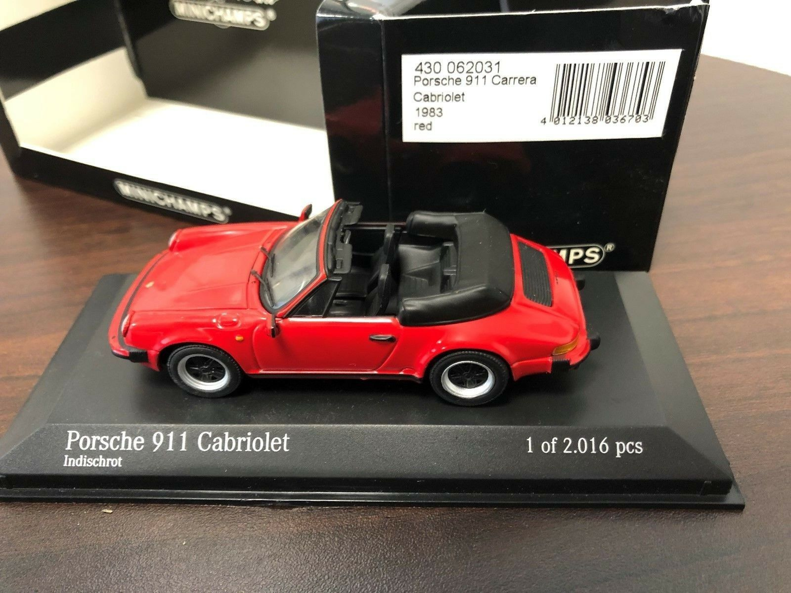 RARE 1983 PORSCHE 911 CARRERA CABRIOLET - MINICHAMPS 1 43  INDIA rouge 430 062031