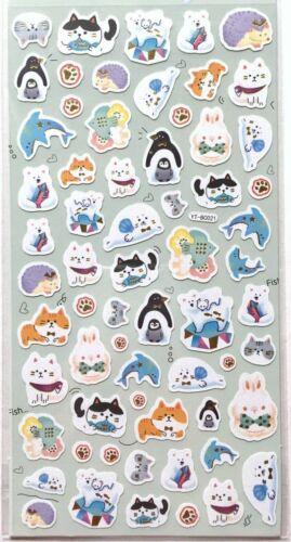 Kawaii Animal Sticker Cat Bear Hedgehog Rabbit Penguin Seadog Dolphin Face JAPAN