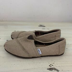 TOMS-Beige-Khaki-Canvas-Slip-On-Flats-Shoes-Fits-Womens-7-7-5-MUST-SEE