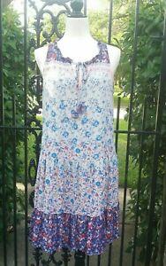 Sanctuary-ROMY-Womens-Shift-Dress-Medium-Ruffle-Floral-Boho-Sleeveless-Blue