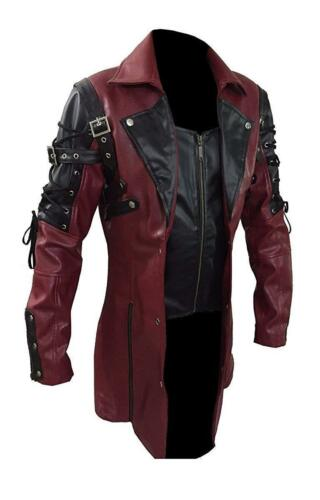 Men/'s Steampunk Gothic Leather Trench Coat Jacket Goth Punk Coat
