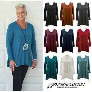PRAIRIE-COTTON-USA-9663W-FLARE-WAFFLE-BACK-TUNIC-Long-Top-S-M-L-XL-FALL-2017
