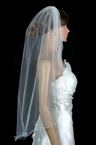 White 1 Tier Fingertip Length  Nylon Pencil Edge Bridal Veil Diamond Off