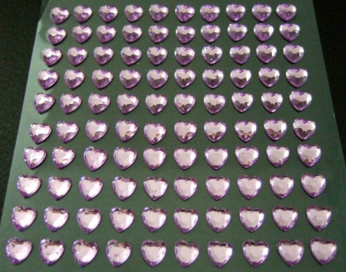 Autocollantes pierres//glitzersteine coeurs 6 x 6 mm différentes couleurs