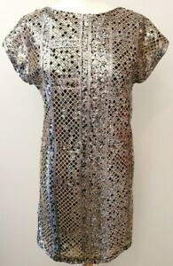 RIVER-ISLAND-UK-Size-10-Gold-Sequin-Sparkly-Shift-Dress-Short-Sleeves