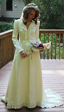 Vintage white off wedding dress, Ivory Wedding Gown, wedding dress with train,XS
