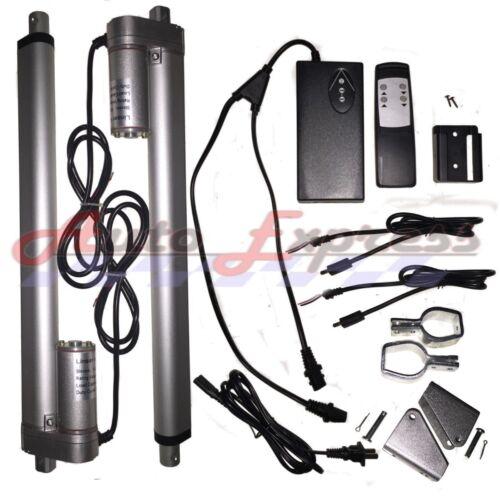 "2 Linear Actuators 24/"" inch Stroke 12V 110V Power Supply With Remote Bracket Set"