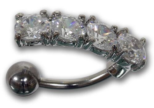 Bauchnabelpiercing aus Chirurgenstahl mit 4 Kristallen in klar Navel Piercing