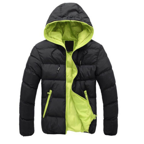 Men Padded Bubble Hooded Coat Puffer Quilted Jacket Warm Bomber Outwear New st