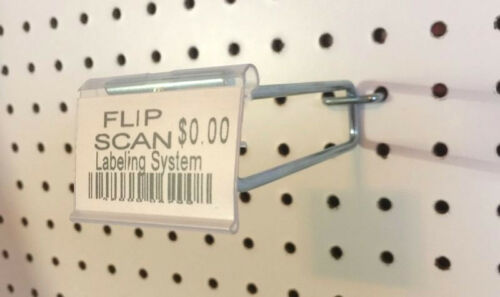 "10 PACK 11"" MEGA Flip Scan Metal Peg Hooks wLabel Holder 316""14"" Pegboard"