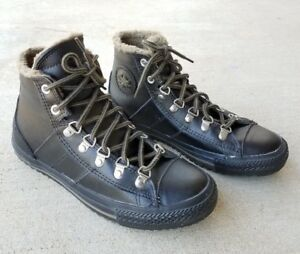 CONVERSE ALLSTAR Black Leather Lined Hi