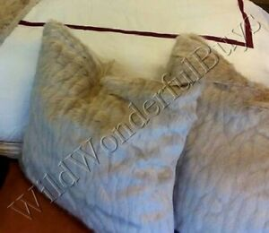 Pottery Barn Mini Ruched Faux Fur Pillow Cover 18 Sq Ultra Soft Gray