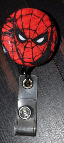 Superhero/Spiderman Fabric Covered Retractable Badge with Alligator Clip.