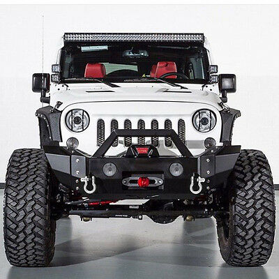 07-16 Jeep Wrangler JK Rock Crawler Front Bumper W// Winch Plate+Fog Light Holes