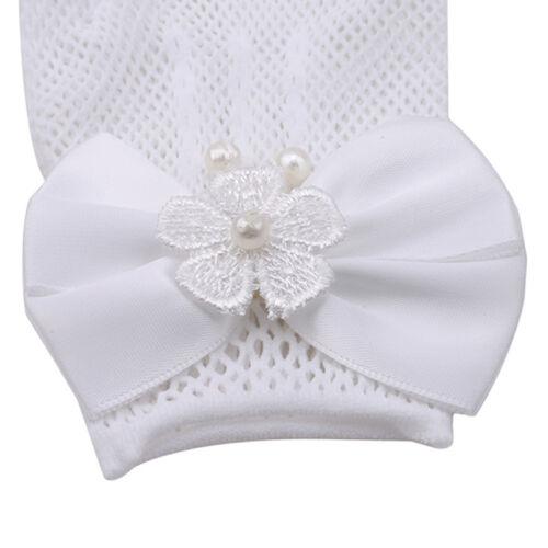 Children Lace White Pearl Bow Short Dress Gloves Wedding Flower Girl Party SM