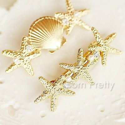 Adorable Pearl Jewel Starfish Shell Hair Clip Pretty Side Clip Fashion Jewelry