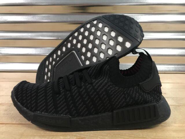 Adidas NMD R1 STLT Primeknit PK Running Shoes Triple Black Pink SZ ( CQ2391  ) ce3503719423