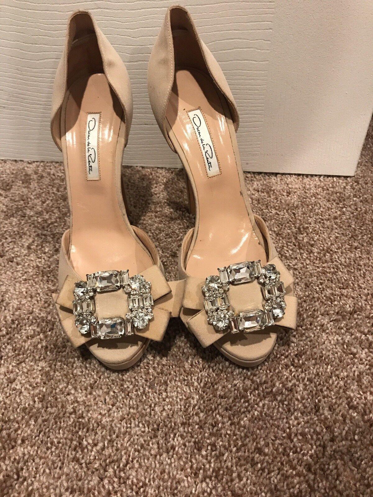 Authentic Oscar De La Renta Ivory Satin Bridal chaussures