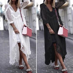Women-Summer-See-Through-Lace-Long-Dress-Dot-Plus-Size-Outside-Smock-Sundress