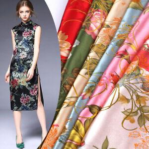 Flower-Printed-Silk-Satin-Fabric-Chinese-Cheongsam-Evening-Dress-Crafts-By-Metre