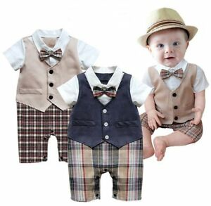 Baby-Boy-Wedding-Christening-Formal-Tuxedo-Suits-Outfit-Dress-Clothes-Romper