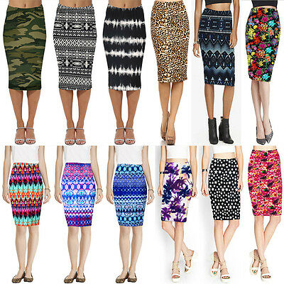 New Women Celeb Stretch Knee Print High Waist Ladies Pencil Bodycon Casual Skirt