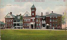 Saginaw General Hospital in Saginaw MI Postcard 1908