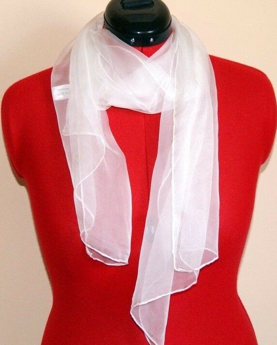 White silk scarf ready for painting or dyeing. 150 x 40 3.5mm 100% silk.