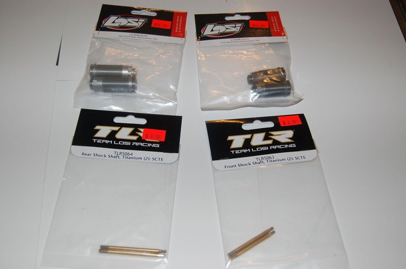 Team Losi TLR SCTE frente y amortiguador trasero anodizado duro cuerpos y Titanium ejes