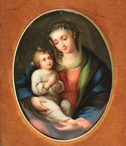 KPM Hand Painted Porcelain Plaque - Madonna & Child, 19th Century