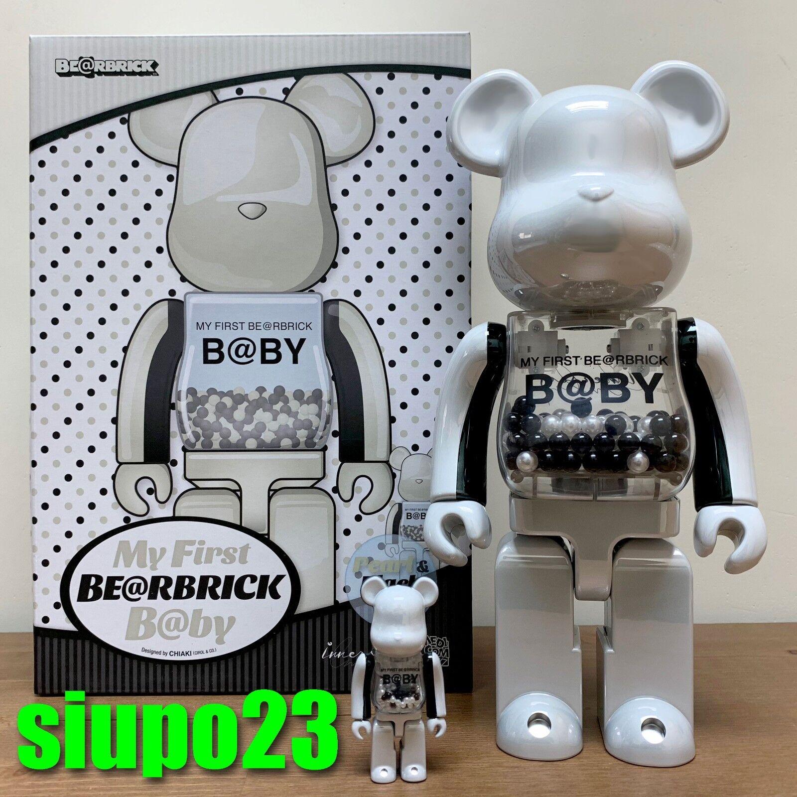 Medicom 400% + 100% Bearbrick  mi primer bebé Be@rbrick Perla blancoo y Negro Ver