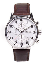Hugo Boss 1512447 Aeroliner Stainless Steel Brown Leather Chronograph Mens Watch