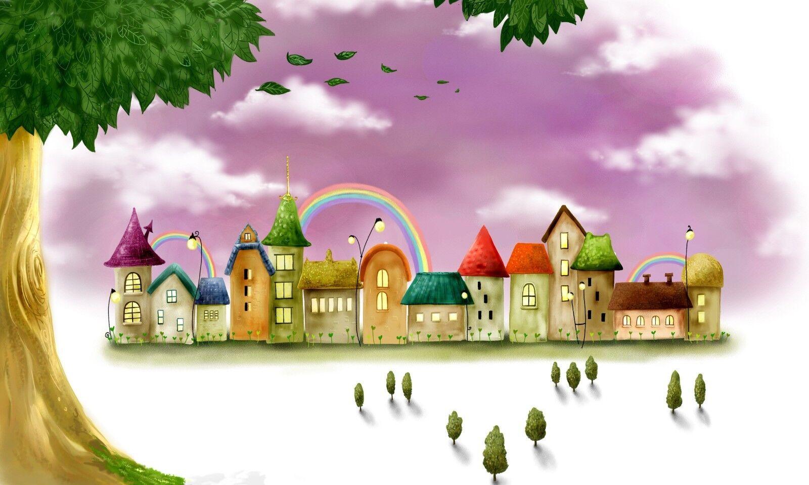 3D Graffiti Häuser Regenbogen 8 Tapete Wandgemälde Tapeten Bild Familie Familie Familie DE Lemon  | Neuankömmling  | Gemäßigten Kosten  | Gutes Design  230850