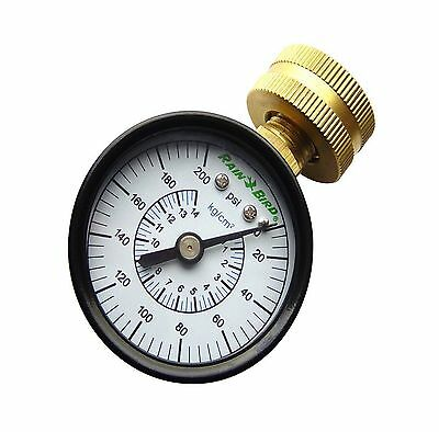 Rain Bird P2A Water Pressure Gauge Reading 0-200 PSI  Hose Thread Adapter New