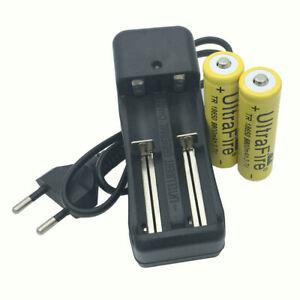 2X 18650 Button Top 9800mAh Batterie 3.7V Li-ion Rechargeable + EU 4.2V Chargeur