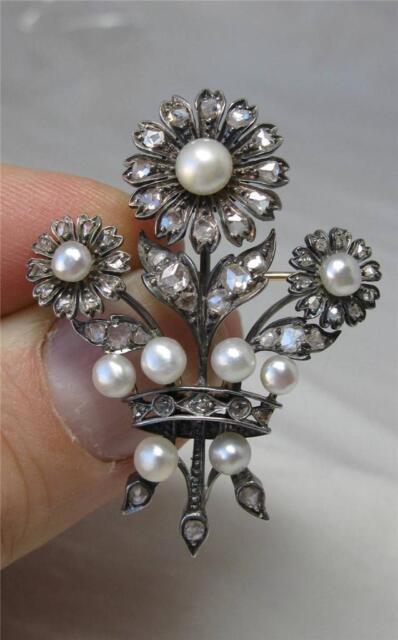 Rose Cut Diamond Pearl Antique Brooch Victorian Belle Epoque Georgian 14K Rare!