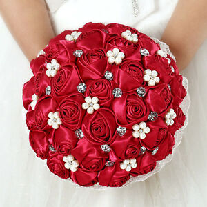 Silk Red Rose Flower Bouquet Artificial