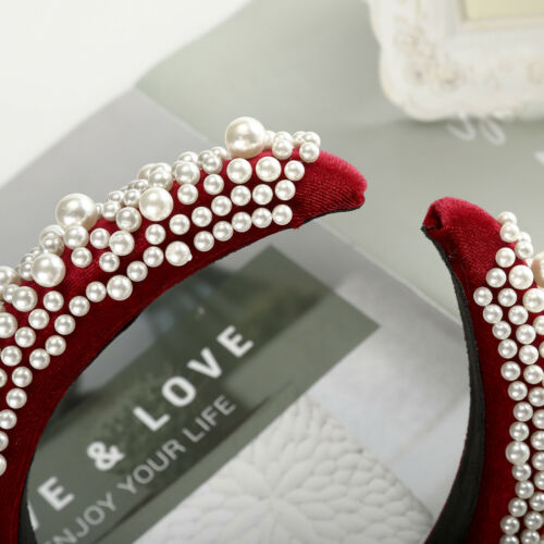 Women/'s Padded Headband Pearl Sponge Velvet Hairband Hair Band Accessories Crown