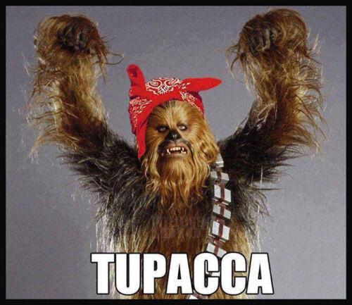 Men/'s Ladies T SHIRT funny spoof music star wars TUPACCA chewbacca sci-fi gangs