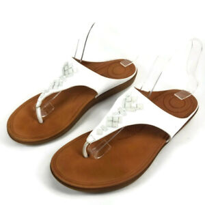 Fitflop-BANDA-II-Crystal-Leather-Toe-Thong-Sandals-Flip-Flops-White-Womens-Sz-8