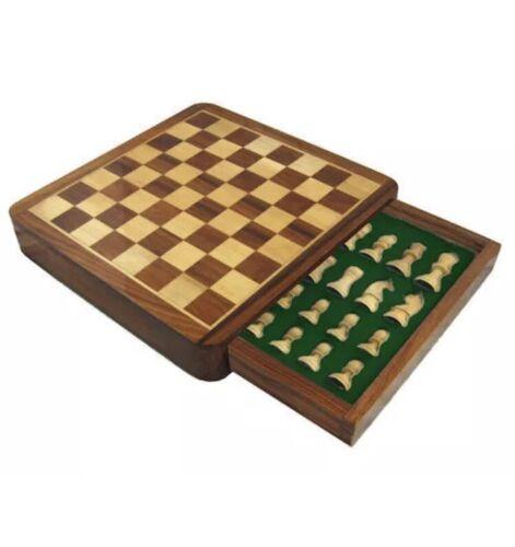 Magnétique Jeu D/'Échecs en Bois Stockage Fentes Portable Haute Qualité Jeux de